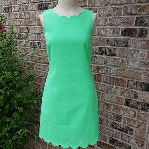 NWT J. Crew Scalloped Hem Low Back Dress Green 2